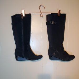 Anne Klein Black Wedged  Knee- High Boots